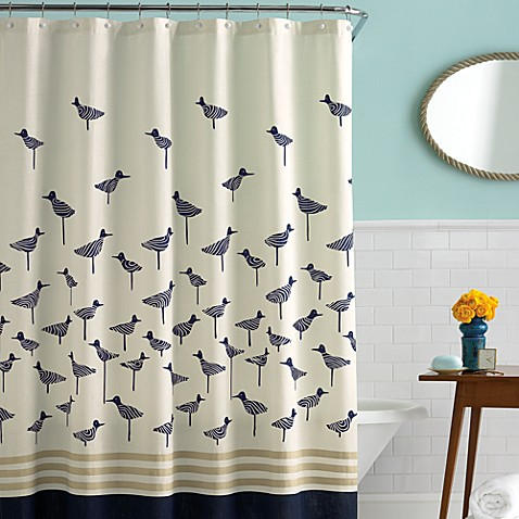 kate spade new york Sandpiper 72-Inch x 72-Inch Fabric Shower Curtain