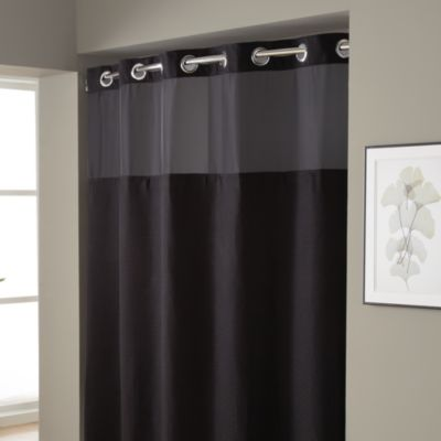 Hookless® Waffle 71-Inch x 74-Inch Fabric Shower Curtain and Liner Set in Black