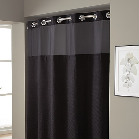 HooklessR Waffle Fabric Shower Curtain And Liner Set In