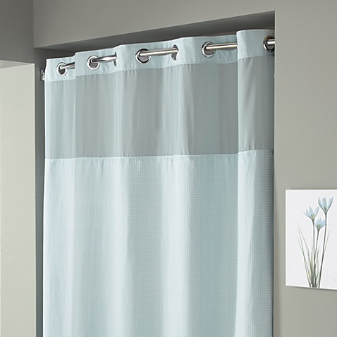 Hookless® Waffle 71-Inch x 74-Inch Fabric Shower Curtain and Liner Set in Mist Blue