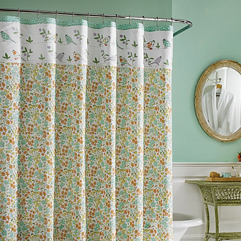 laura ashley birds and branches fabric shower curtain. Black Bedroom Furniture Sets. Home Design Ideas