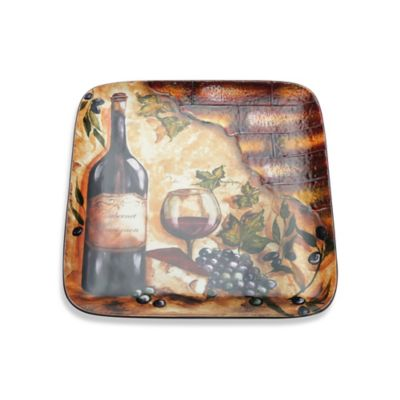 Certified International Wine Cellar by Tres Sorelle 14.5-Inch Square Platter