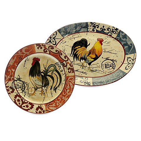 Certified International Lille Rooster by Geoffrey Allen Oval Platters