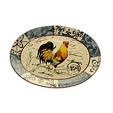 Certified International Lille Rooster by Geoffrey Allen 16-Inch x 12-Inch Oval Platter