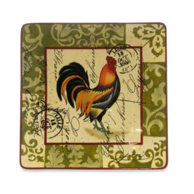 Certified International in Lille Rooster by Geoffrey Allen 14.5-Inch Square Platter