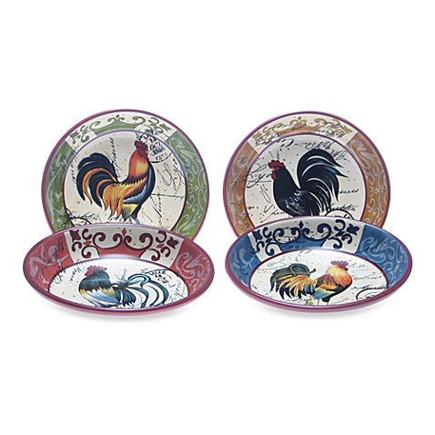 Certified International in Lille Rooster by Geoffrey Allen 9-Inch Pasta Bowls (Set of 4)