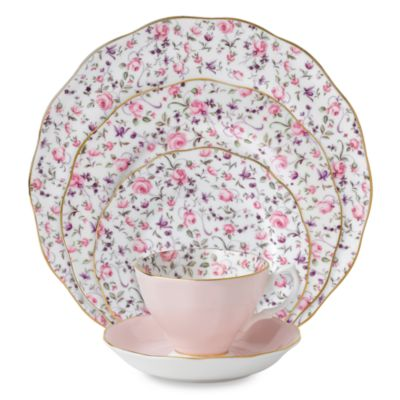 Royal Albert Rose Confetti Formal Vintage 5-Piece Place Setting