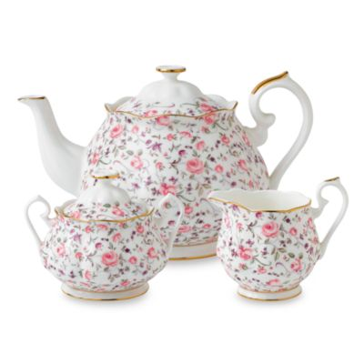 Royal Albert Rose Confetti Formal Vintage 3-Piece Tea Set