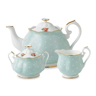 Royal Albert 3-Piece Tea Set in Polka Rose