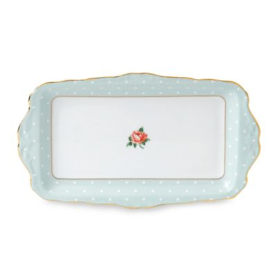 Royal Albert 11 1/2-Inch x 6 3/4-Inch Formal Vintage Sandwich Tray in Polka Rose