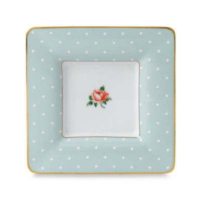 Royal Albert 6 1/2-Inch Square Trinket Tray in Polka Rose