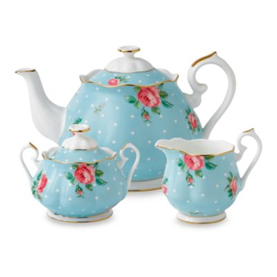 Royal Albert 3-Piece Tea Set in Polka Blue