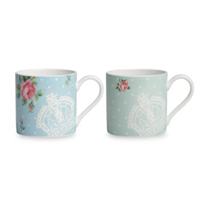Royal Albert Mugs in Polka Rose & Polka Blue (Set of 2)