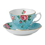 Royal Albert Formal Vintage Teacup & Saucer Set in Polka Blue