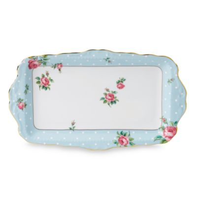 Royal Albert 11 1/2 x 6 3/4-Inch Vintage Formal Sandwich Tray in Polka Blue