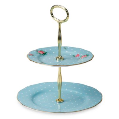 Royal Albert Vintage Formal 2-Tier Cake Stand in Polka Blue