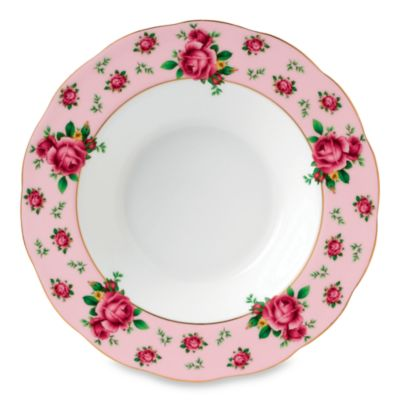 Royal Albert 9 2/5-Inch Formal Vintage Rimmed Soup/Salad Bowl in New Country Roses Pink