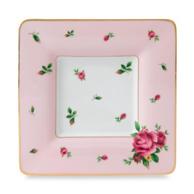 Royal Albert 6 1/2-Inch Square Trinket Tray in New Country Roses Pink
