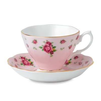 Royal Albert Formal Vintage Teacup & Saucer Set in New Country Roses Pink