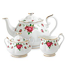 Royal Albert 3-Piece Tea Set in New Country Roses White