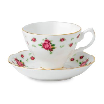 Royal Albert Formal Vintage Teacup & Saucer Set in New Country Roses White