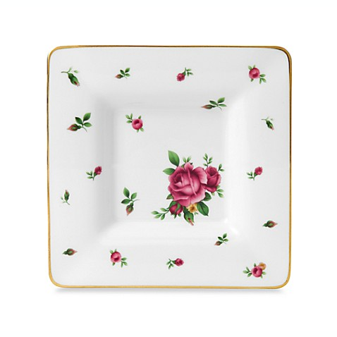Royal Albert 6 1/2-Inch Square Trinket Tray in New Country Roses White