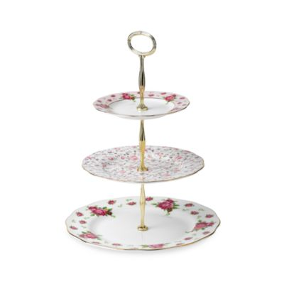 Royal Albert 3-Tier Formal Vintage Cake Stand in New Country Roses White