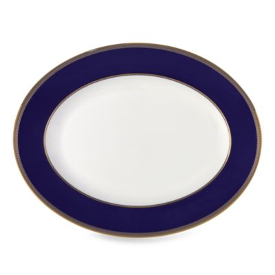 Blue Gold Oval Platter