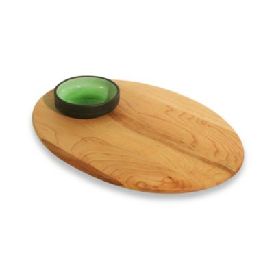 J.K. Co. Adams Bread and Oil Single Dish Board with Green Dish