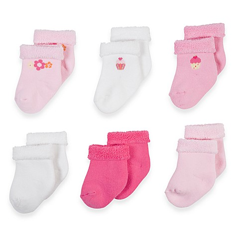 Gerber® Size 3-6 Months Girls Terry Socks (Set of 6)