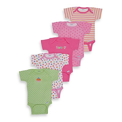 Gerber® Short Sleeve Onesies® One Piece Size 0 to 3 Months Underwear in Pink