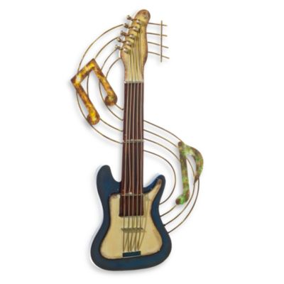 Metal Guitar Wall Art in Blue