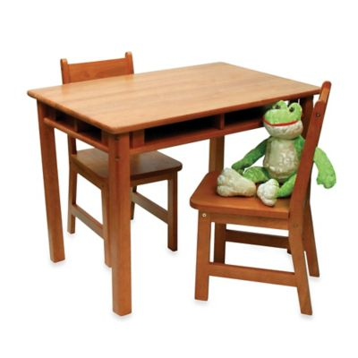Lipper International Child's Rect. Table w/ Shelves & 2 Chairs in Pecan