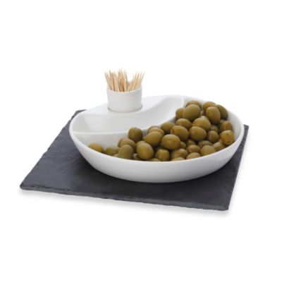 Maxwell & Williams™ White Basics Slate 3-Piece Square Olive Dish