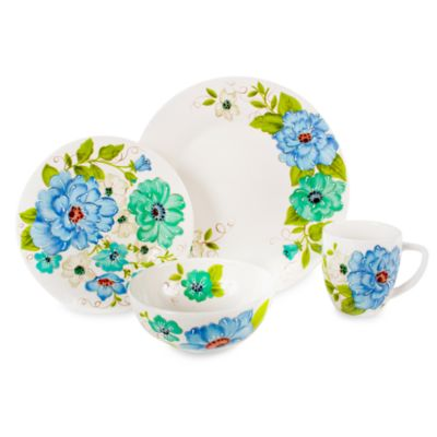Laurie Gates Phoebe Blue 16-Piece Dinnerware Set