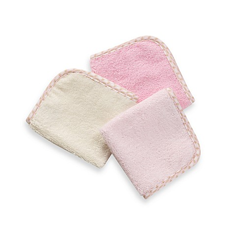 Just Born® Naturals 3-Piece Organic Washcloth Set in Pink & Ivory
