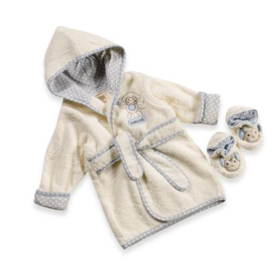 Just Born® Naturals Bathrobe & Bootie Set in Newborn to 9 months in Monkey