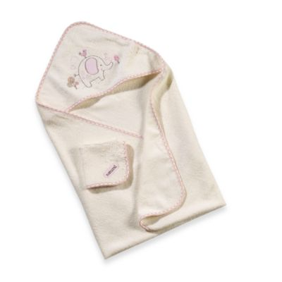 Just Born® Naturals Hooded Towel and Washcloth Set in Elephant