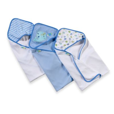 Just Born® 3-Pack Hooded Towels in Blue Whale
