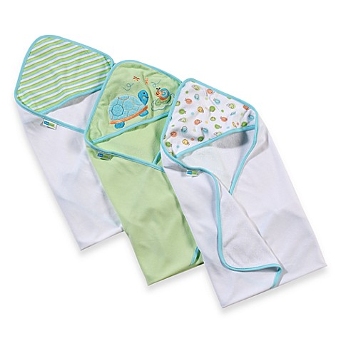 Just Born® 3-Pack Hooded Towels in Green Turtle