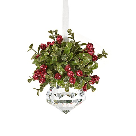Kissing Krystal Small Christmas Mistletoe Ornament