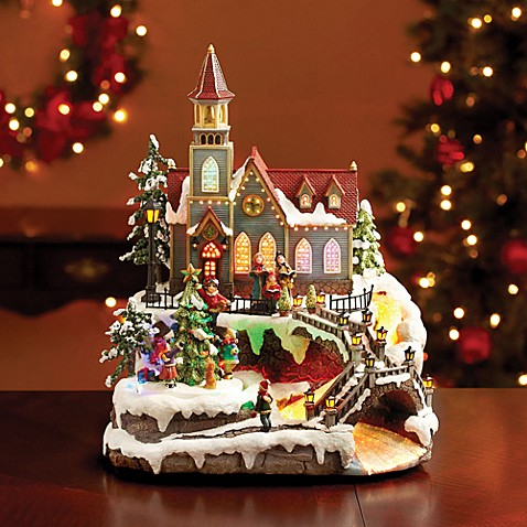 Resin Church with Rotating Tree Decoration