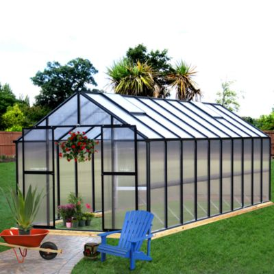 Riverstone Monticello Black 8-Foot x 16-Foot Residential Greenhouse