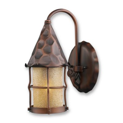 ELK Lighting Rustica 1-Light Outdoor Sconce with Antique Copper Finish and Amber Glass Shade