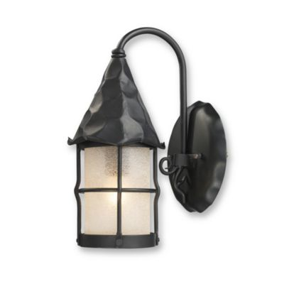 ELK Lighting 1-Light Outdoor Matte Black Rustica Sconce with White Glass Cylinder