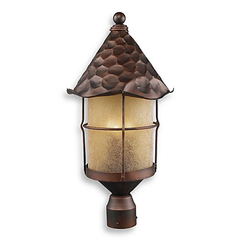 ELK Lighting Rustica 3-Light Outdoor PosTin Antique Copper/Scavo Glass