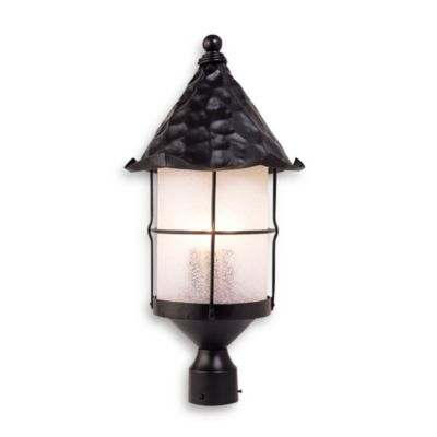 ELK Lighting Rustica 3-Light Outdoor PosTin Matte Black/Scavo Glass