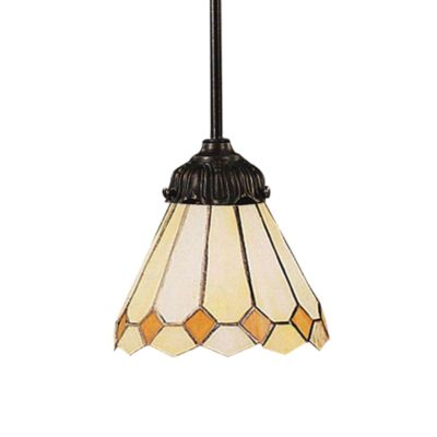Mix-n-Match 1-Light Pendant with Amber Diamond Glass and Tiffany Bronze Finish