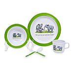 Silly Souls® New Yorker® Elephants in 5-Piece Dish Set in White & Green