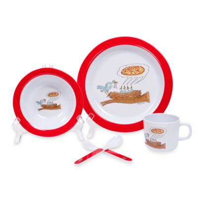 Silly Souls® New Yorker® Birds Craving Pizza in 5-Piece Dish Set in White & Red